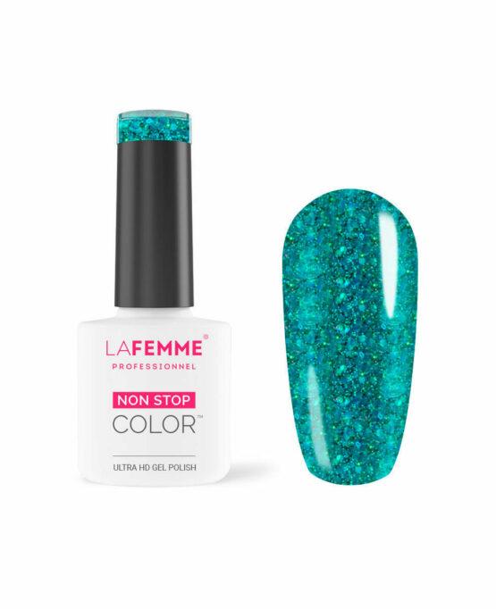 Smalto Gel Azzurro glitter semicoprente H209