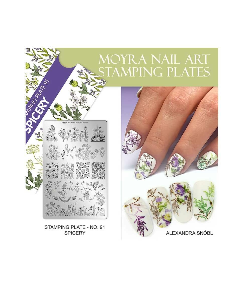 Piastra Stamping Moyra 91 Spicery 9 5cm X 14 5cm Aleas Cosmetics