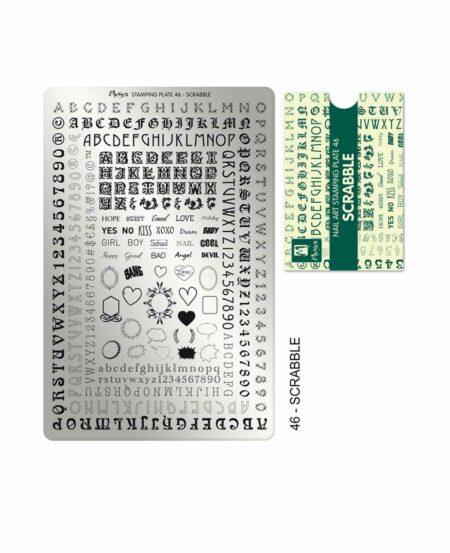 Piastra Stamping Moyra® 46 - Scrabble - 9,5cm x 14,5cm
