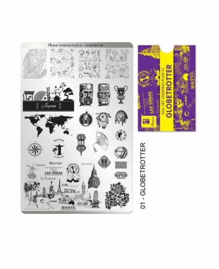 Piastra Stamping Moyra® 01 - Globetrotter - 9,5cm x 14,5cm