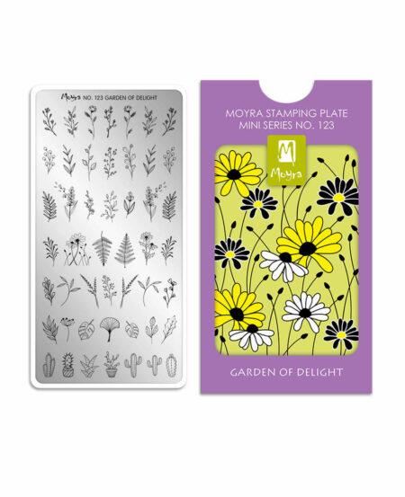 Mini Piastra Stamping Moyra® 123 - Garden of Delight - 6cm x 12cm